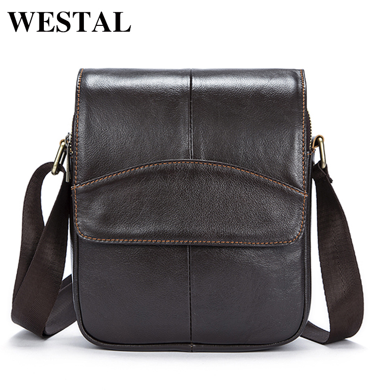 все цены на WESTAL Casual Messenger Bag Leather Men Shoulder Crossbody Bags for Man Genuine Leather Men Bag Small Flap Male Bags Bolsa New онлайн
