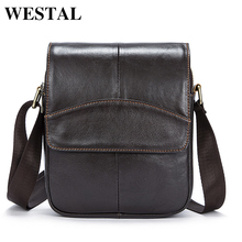WESTAL Messenger Bag Men Shoulder Bags Male Genuine Leather