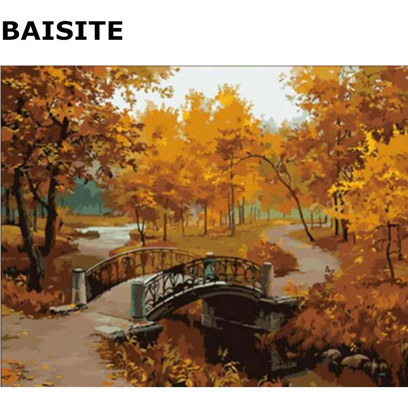 Beautiful Autumn DIY Oil Paint By Numbers Hand Painted Canvas Abstract Wall Pictures For Living Room Home Decor Wall Art H310