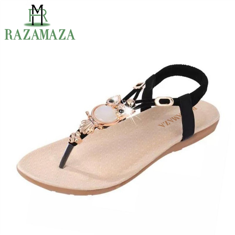 513ca9643 bohemian beaded women flat sandals clip toe brand quality sexy sandals  fashion ladies shoes size 36-42 WA0062