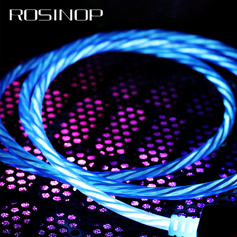 Rosinop 2 4A Night Light Fast Charging Cable USB Type C For xiaomi cabel Charger For iphone Mobile Phone Cables Android Micro in Mobile Phone Cables from Cellphones Telecommunications