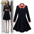 Mulheres da queda do inverno adogirl escritório plus size xl vestido azul escuro com orange colar magro ocasional do vintage vestidos formais vestidos