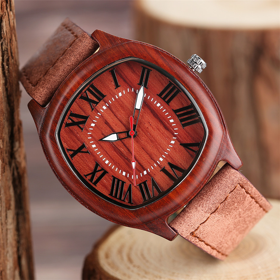 YISUYA Bamboo Wooden Watch Men Quartz Leather Band Analog Creative Watches Roman Numerals Dial Unqiue Shape Fashion Clock Gift (9)