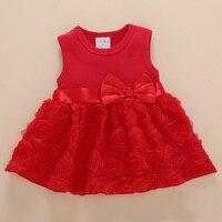 Для маленьких девочек модные платье принцессы Детские сладкие хлопковый жилет без рукавов платье Кружево Роза Луки платье Красный Розовый ...