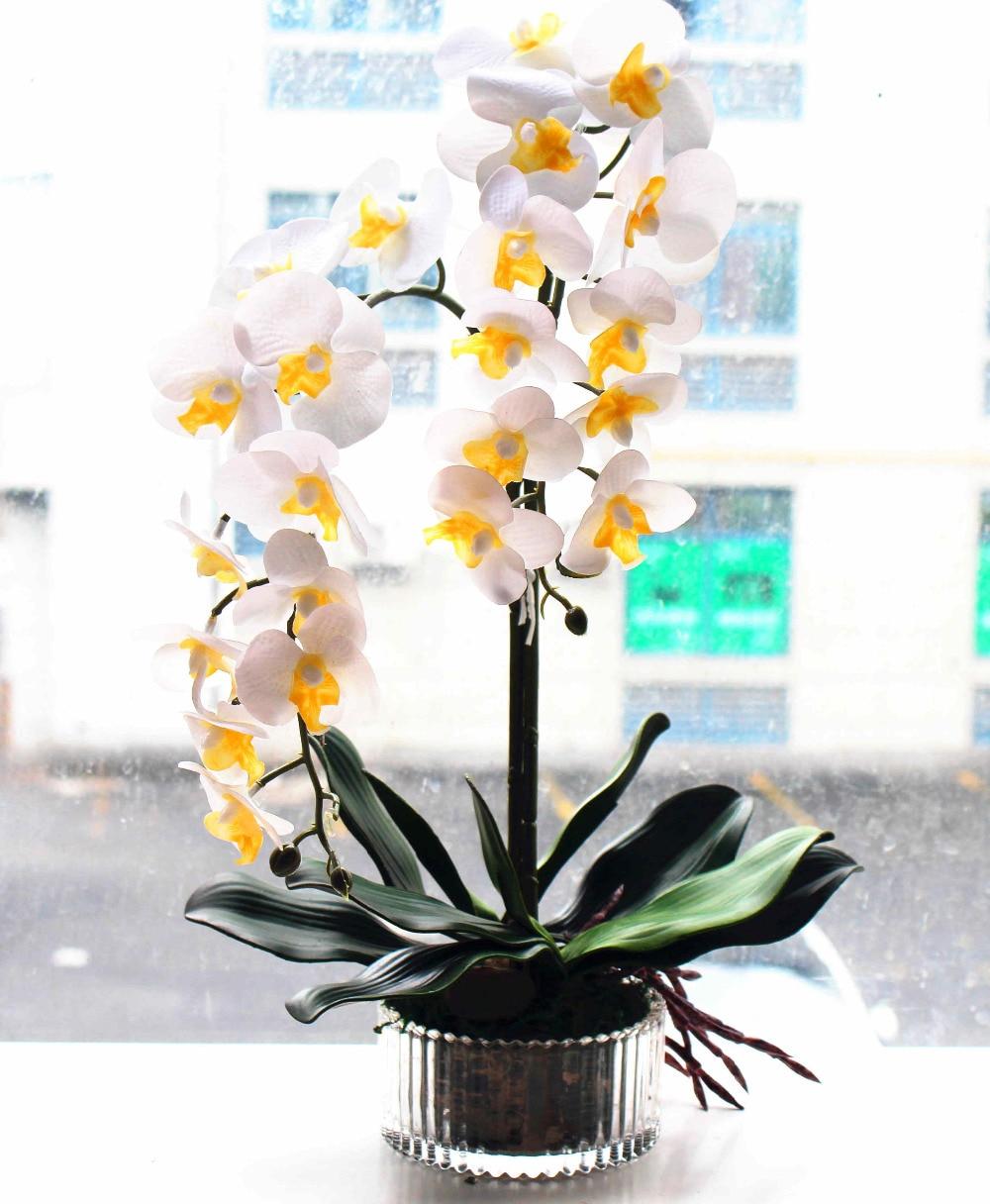 Acheter 1 set fleur + vase artificielle orchidée arrangement de fleurs en pot fleur real touch fleur de silicium orchidée réel tactile en verre vase de touch flower fiable fournisseurs