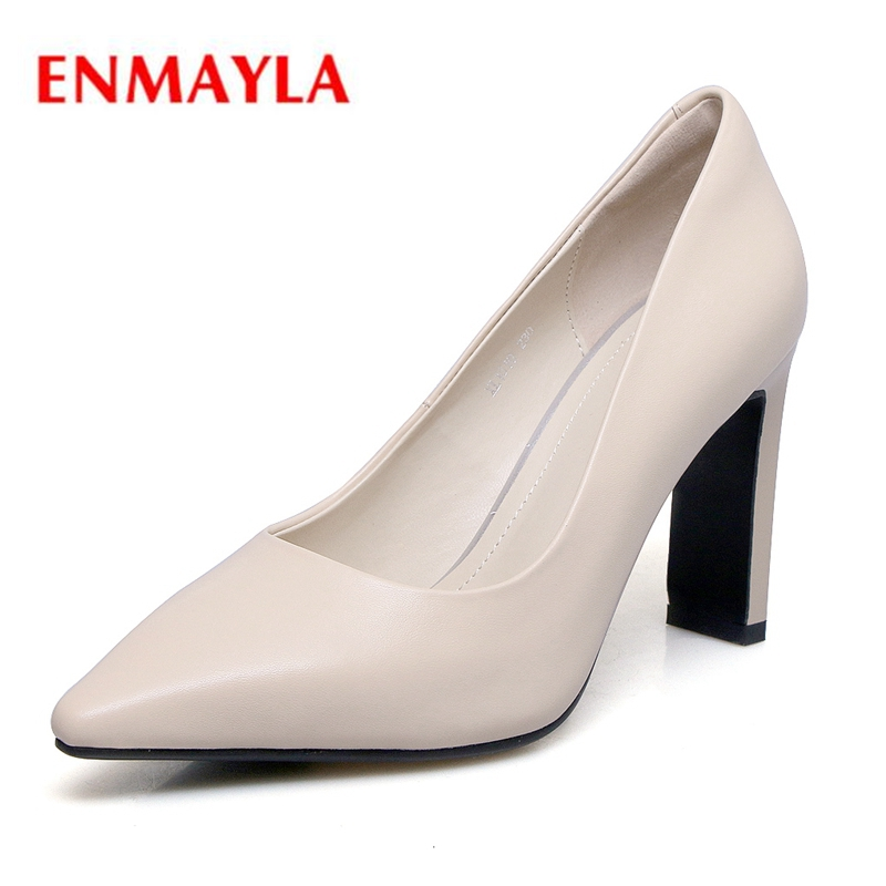 ENMAYLA   Genuine Leather  Pointed Toe  Slip-On  Thin Heels   Zapatos De Mujer  Shoes Woman High Heel Size 34-40 ZYL2039