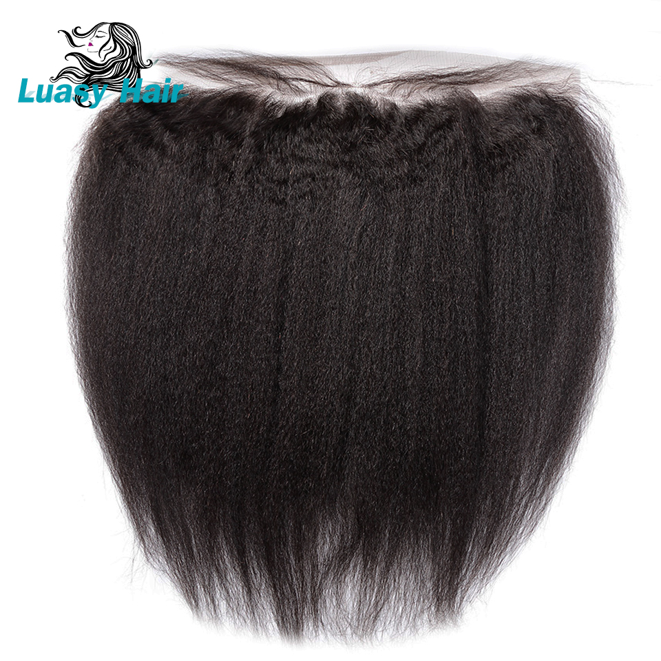 Luasy Remy Brazilian Kinky Straight Hair Lace Frontal Closure With Baby Hair Ear To Ear Pre Pluck 13X4 Coarse Yaki Lace Closure