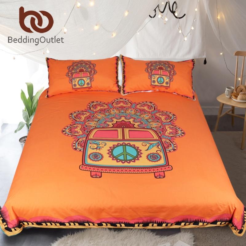 Beddingoutlet Hippie Vintage Car Bedding Set Orange