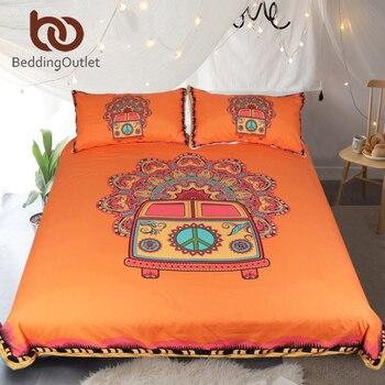 BeddingOutlet Hippie Vintage Car Bedding Set Orange Mandala Quilt Cover Peace Design Bed Set Bohemian a Mini Van Bedclothes 3pcs