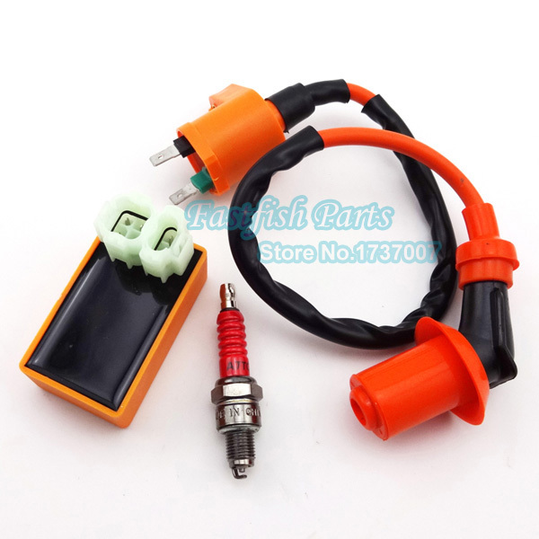 US $12 72 6% OFF|Racing Ignition Coil & 6 pin AC CDI & A7TC Spark Plug For  Chinese GY6 50cc 125cc 150cc Moped Scooter Pit Dirt Bike ATV Quad on