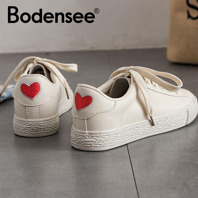 BODENSEE Women Flat Sneakers Summer White Lace Up Student Fashion Vulcanize Shoes Ladies Casual Shoes Female Canvas Shoes