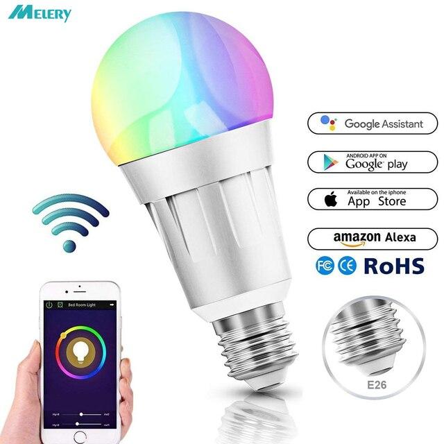 Wifi inteligente bombillas LED RGB regulable Color ambiente E26 compatibles con Amazon Alexa eco Google orientable 60 W equivalente