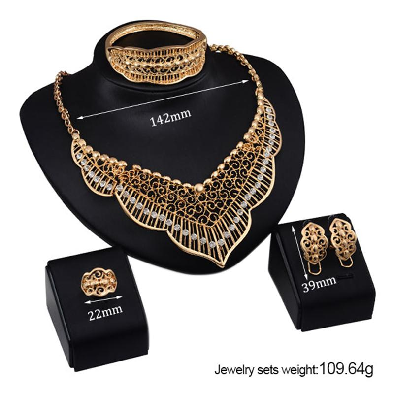 XY Fancy Europe and America Exaggerated Jewelry Set, Luxurious Hollow Four-piece of Necklace Ear Studs Bracelet Ring for Party