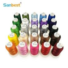 Sanbest Высокое качество 24 Цвета полиэфирная нить для шитья Fliament 120D/2 1000M Brother швейная машина Singer швейные нитки TH00027