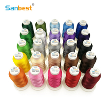 Sanbest High Quality 24 Colors Polyester Embroidery Thread Fliament 120D/2 1000M Brother Singer Machine Sewing Threads TH00027
