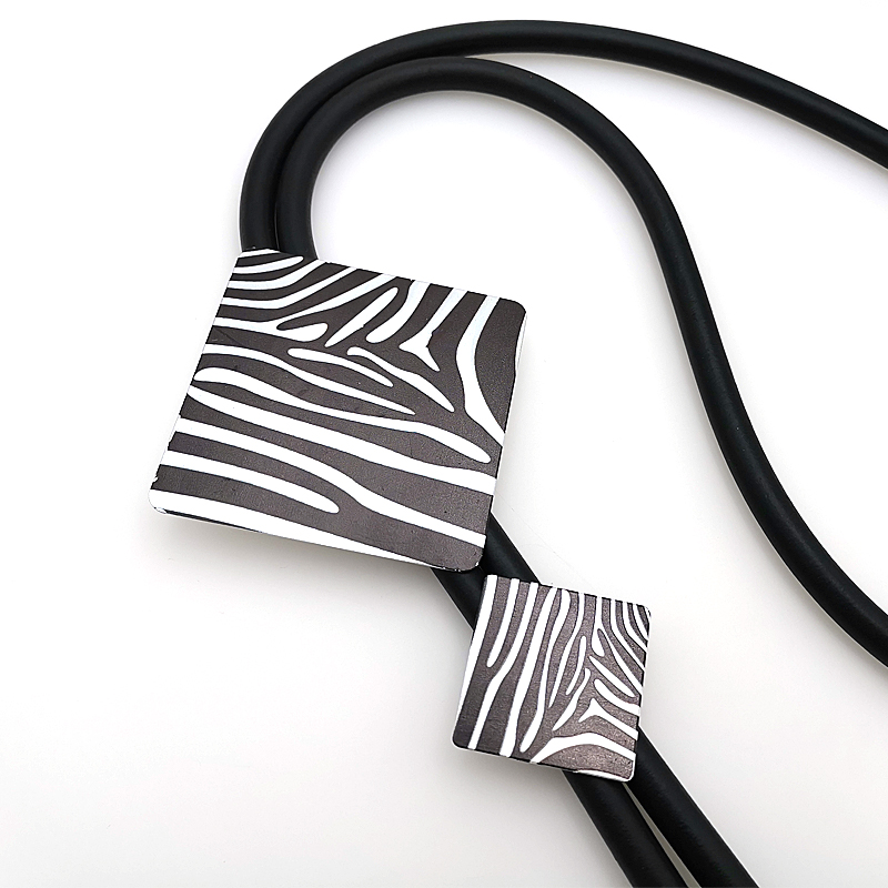 YD amp YDBZ New Fashion Necklace Women 39 s Pendants Zebra Pattern Square Chokers Necklace Handmade Leather Long Chains Party Rave Gift