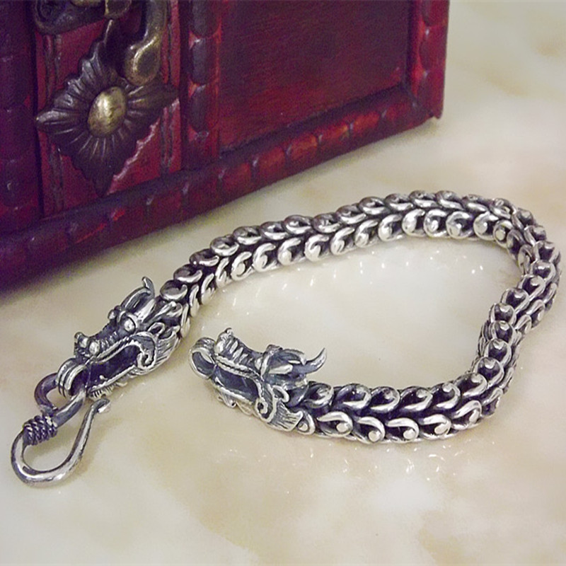 selling 925 Sterling Silver Vintage Silver Bracelet double tap male domineering Korean fashion personality Bracelet 2018 thai silver jewelry 925 sterling silver men bracelet male domineering personality retro fashion chain link charm bracelet