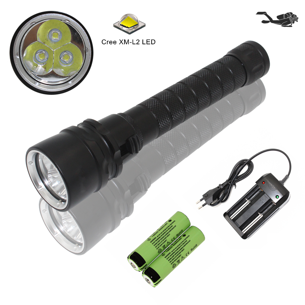 Waterproof dive torch diving flashlight underwater flashlight Cree XM-L2 LED lamp + 18650 battery + AC charger waterproof 2000 lumen cree xml l2 led professional underwater dive diving flashlight torch lamp power by 18650 26650 battery