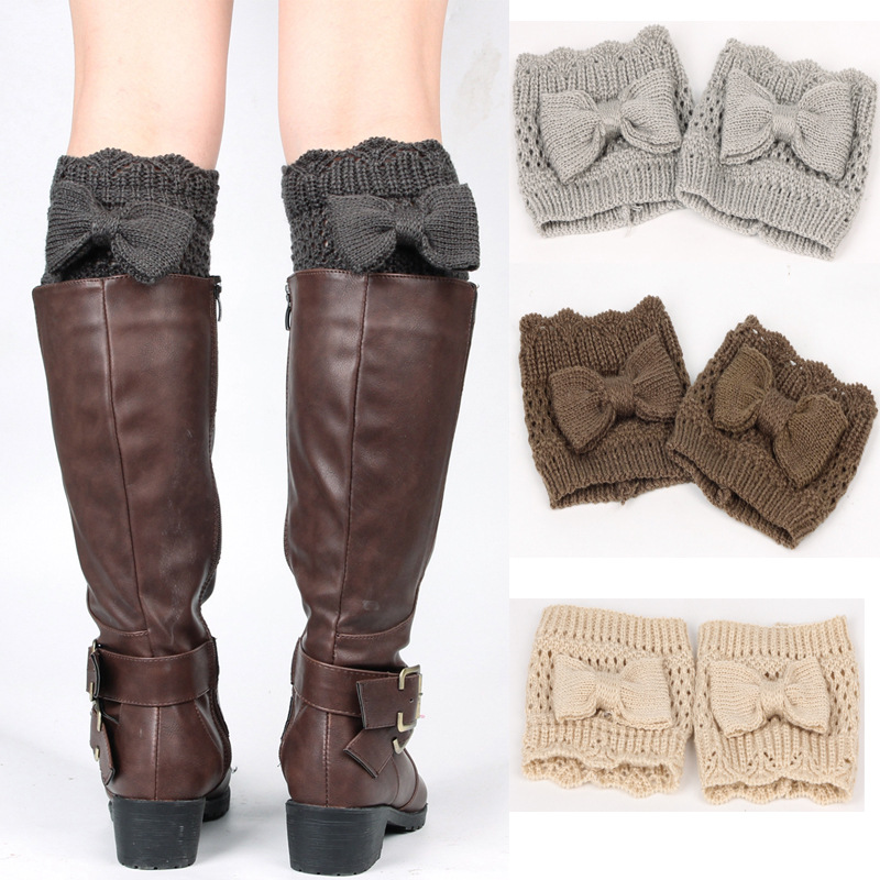 2018 New European And American Women's Solid Color Knit Knee Sets Bow Hollow Leggings Short Wool Boots