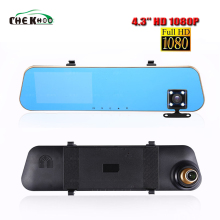 лучшая цена HD 1080P Car Dvr Camera  4.3 Inch Rearview Mirror Digital Video Recorder Dual Lens cam  Registratory Camcorder Dash Cam 2 way