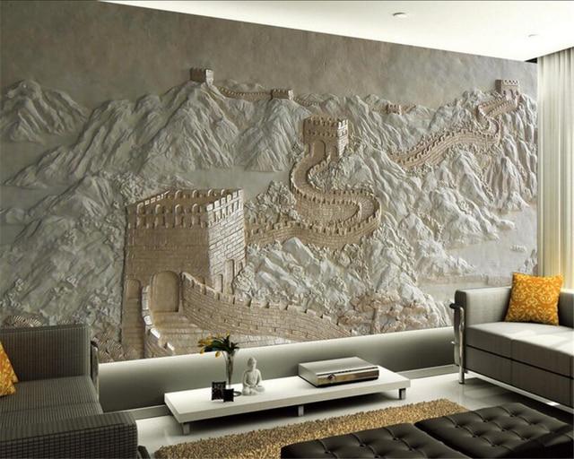 Beibehang Custom Wallpaper Great Wall Relief Chinese TV Background Mural Design Living Room Bedroom
