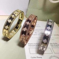 High-grade with cz CZ bracelet bangle kaleidoscope  gold color clover bracelet lady quatrefoil brass Bracelet for women