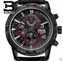 Швейцария Бингер Новый Мужчины Смотреть Кожаный Ремешок Аналоговый Дисплей Часы Известный Люксовый Бренд Мода Повседневная Наручные Часы