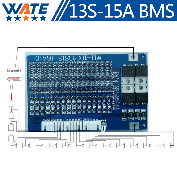 1PCS 13S 54.6V Lithium Ion Water Bottle electric bike battery BMS 54.6V Protection circuit board with 15A Constant current. PCM in 2500mah with protection board 554858 12v lithium polymer battery monitor 11 1v 605060 li ion cell