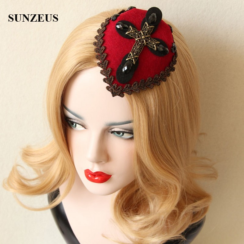 Gothic Cross Vintage Small Hat For Halloween Party Red Black Headwear Head Accessory Wholesale FJ-01