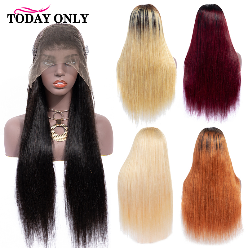TODAY ONLY Brazilian Straight Blonde Lace Front Wig Ombre Human Hair Short Wig Lace Front Human