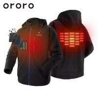 US SELLER ORORO Black Mens Battery Hooded Heated Work Jacket Motorcycle Skiing Snow Coats Hoodie Wind