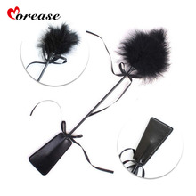 Morease Flirt Clit tickler Whip Black Feather Adult Game Flogger Sex Toy Products Bondage Erotic Fetish BDSM SM For Women men