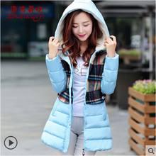 Новый 2016 зима теплая толстые Ватные Куртки женщины мода slim с капюшоном плед шерстяные лоскутное длинный вниз хлопка Пальто куртки AE855
