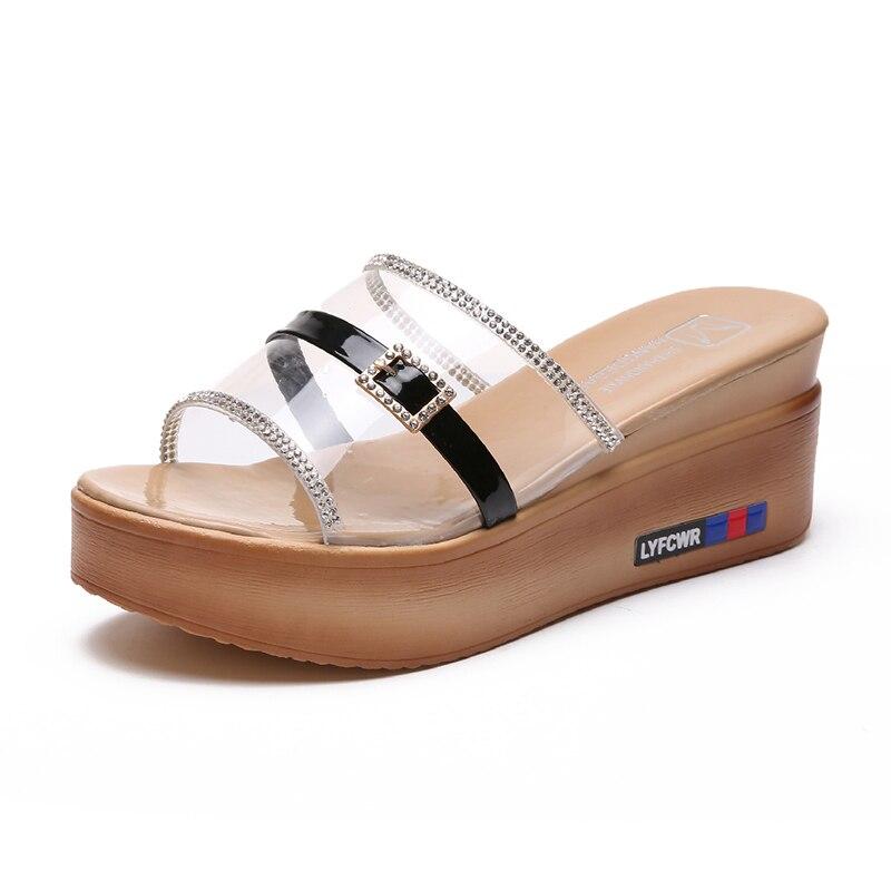 ac13b613a9fa 2018 Summer women slippers female Open Toe flip flops ladies beach slippers  wedges sandals women high