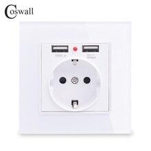 COSWALL настенная розетка с заземлением 16А стандарт ЕС электрическая розетка с 2100 мА двойной USB порт зарядного устройства для мобильного