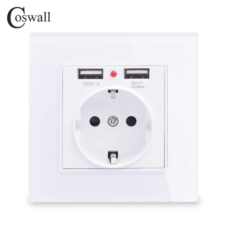 COSWALL 2019 Wall Power Socket Grounded 16A EU Standard Electrical Outlet With 2100mA Dual USB Charger Port for Mobile