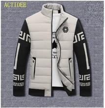 Warme Winter Jacken Männer Kontrast Farbe lange gedruckt ärmeln Jacken Casual Patchwork Baumwolle Daunenjacken