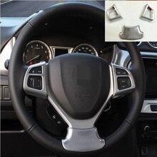 Top Fur Suzuki Vitara 2016 2017 3 Stucke Auto Detector Stick Styling Abdeckung ABS Chrom Lenkrad Innen Kit Trim Lampe Rahmen