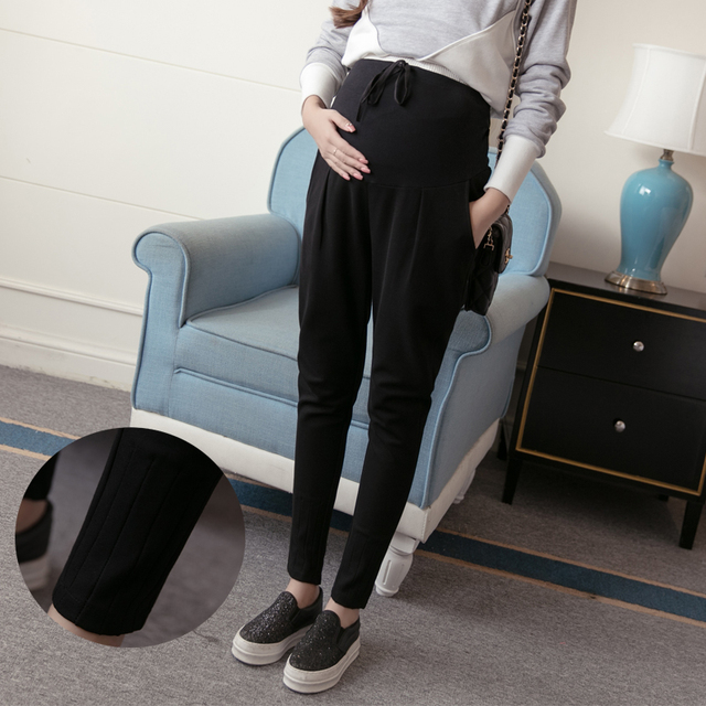 Winter Maternity Pants Trousers Spring Autumn Fashion Maternity Belly Pants Plus Size Maternity Cotton Harem Pants Trousers B40