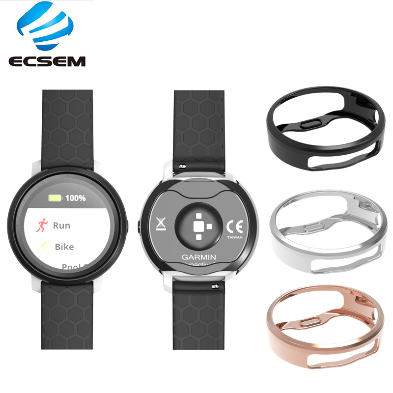 ECSEM Plating Protective Cases Replacement for Garmin Vivoactive 3 trainer Soft TPU Security Full edge cover watch Accessories-in Smart Accessories from Consumer Electronics