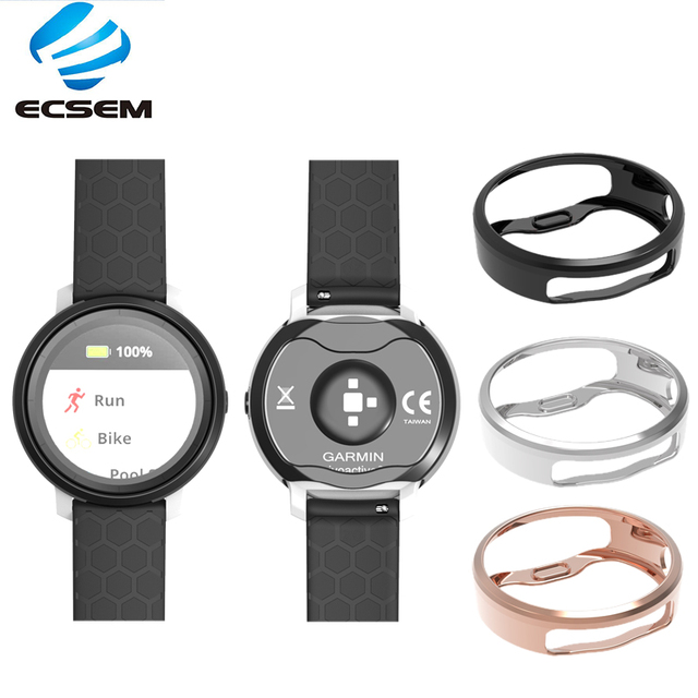 ECSEM Plating Protective Cases Replacement for Garmin Vivoactive 3 trainer Soft TPU Security Full-edge cover watch Accessories