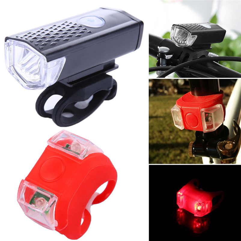 Bicycle LED Tail Light Safety Warning Light&Front headlight USB Rechargeable Bike Rear Light Lamp MTB Bike Light #FS#4MY22