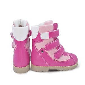Image 3 - Ortoluckland Children Winter Shoes Orthopedic Boots Fur Leather Calf short Snow Boots For Girls Pink Warm Fashion Kids Shoes