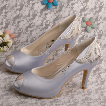 New Design Peep Toe Wedding Pumps Navy High Heels Blue Shoes