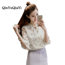 New 2017 Spring Summer Women's Chiffon Printing Blouses Shirts Femme Casual Flounces Clothing Women Sexy Blouses Tops Plus Size