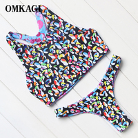 OMKAGI Double Fabric Bird Print 4 Ways To Wear Swimwear Women Brazilian Bikinis Beach Swimsuit Bodysuits