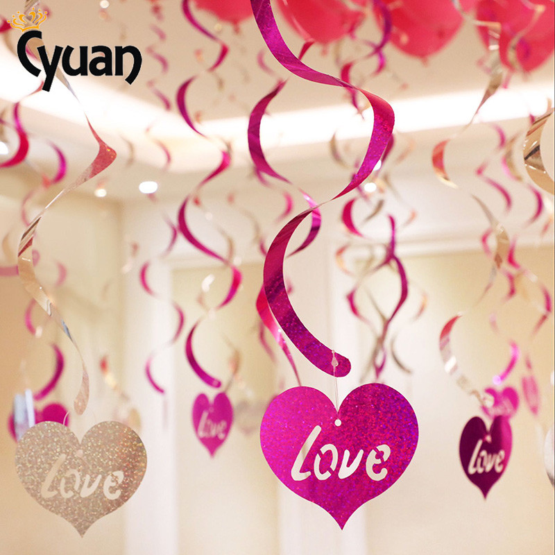 Wedding Xmas Valentines Metallic Heart Pearl Garlands