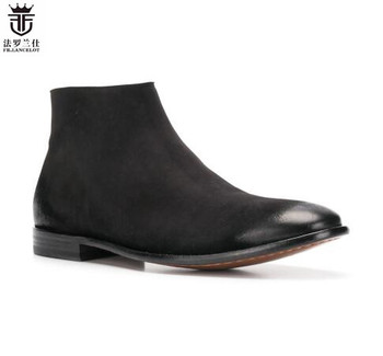 FR.LANCELOT 2019 Newest zapatos de mujer Chelsea Ankle Boots Black Genuine Leather Side Zipper Men Shoes botas mujer