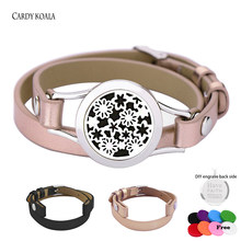 Free 8pads Aromatherapy Jewelry Essential Oil Diffuser Locket Leather Bracelet Stainless Steel Perfume Aroma Bracelet(China)