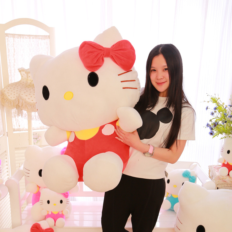 60cm Large Hello Kitty Doll Peluches Stuffed Animals Toys High Quality Hello Kitty Plush Toys For Girl Polka Dot Girlfriend Gift стоимость